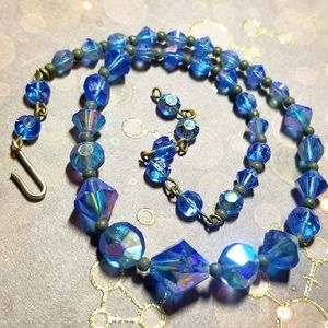 Vintage blue crystal bead necklace aurora borealis